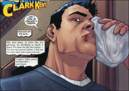 VACATION: Superman spends his year off getting the tar kicked out of him.
