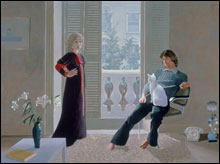 MR. AND MRS. CLARK AND PERCY (1970-'71) In his double portraits, Hockney likes to tap the electricity between two subjects.