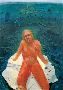 FRANK ON A ROCK: Schutz painted Frank as 'The Last Man on Earth' from the point of view of 'The Last Artist on Earth.'