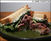 Flour Bakery + Café's roasted-lamb, tomato-chutney, and goat-cheese sandwich