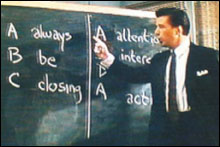 ALWAYS BE CLOSING Baldwin delivers a lesson.