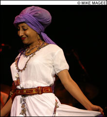 SHOW STEALER Singer Hana Shenkute was one of three Ethiopian guests who made the Either/Orchestra's Berklee gig rock.