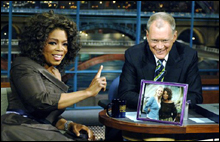 KISSING HER RING The normally acerbic Letterman melts in the presence of Oprah