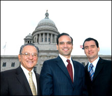 POWER TRIO: Although Judge Caprio (left) has no interest in moving to a higher court, brothers Frank T. and David A. Caprio could play increasingly influential roles at the State House.