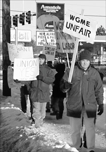 Picketers outside the station